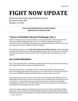 Fight Now Breast Cancer Newsletter - Oct 12th 2010