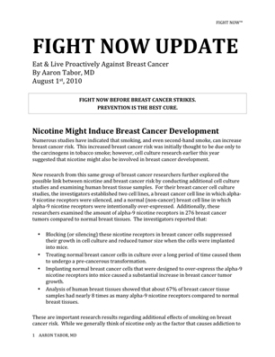 Fight Now Breast Cancer Newsletter - August 2010
