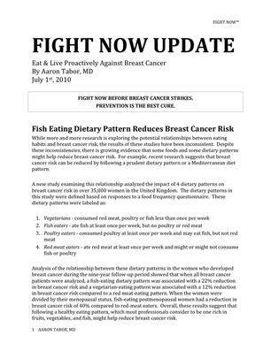 Fight Now Breast Cancer Newsletter - July 2010