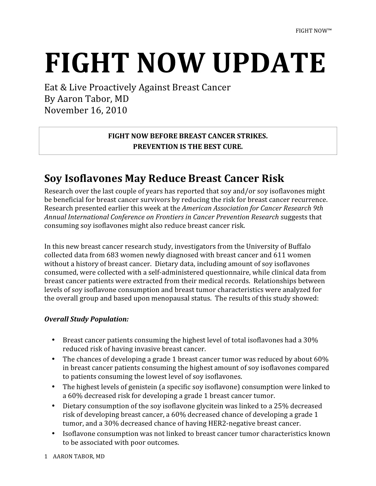 Fight Now Breast Cancer Newsletter - November 16th, 2010
