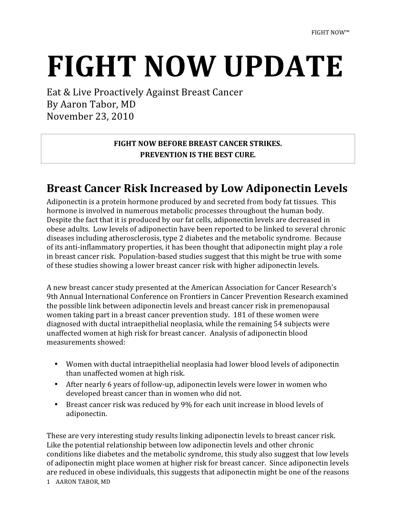 Fight Now Breast Cancer Newsletter - November 23rd, 2010