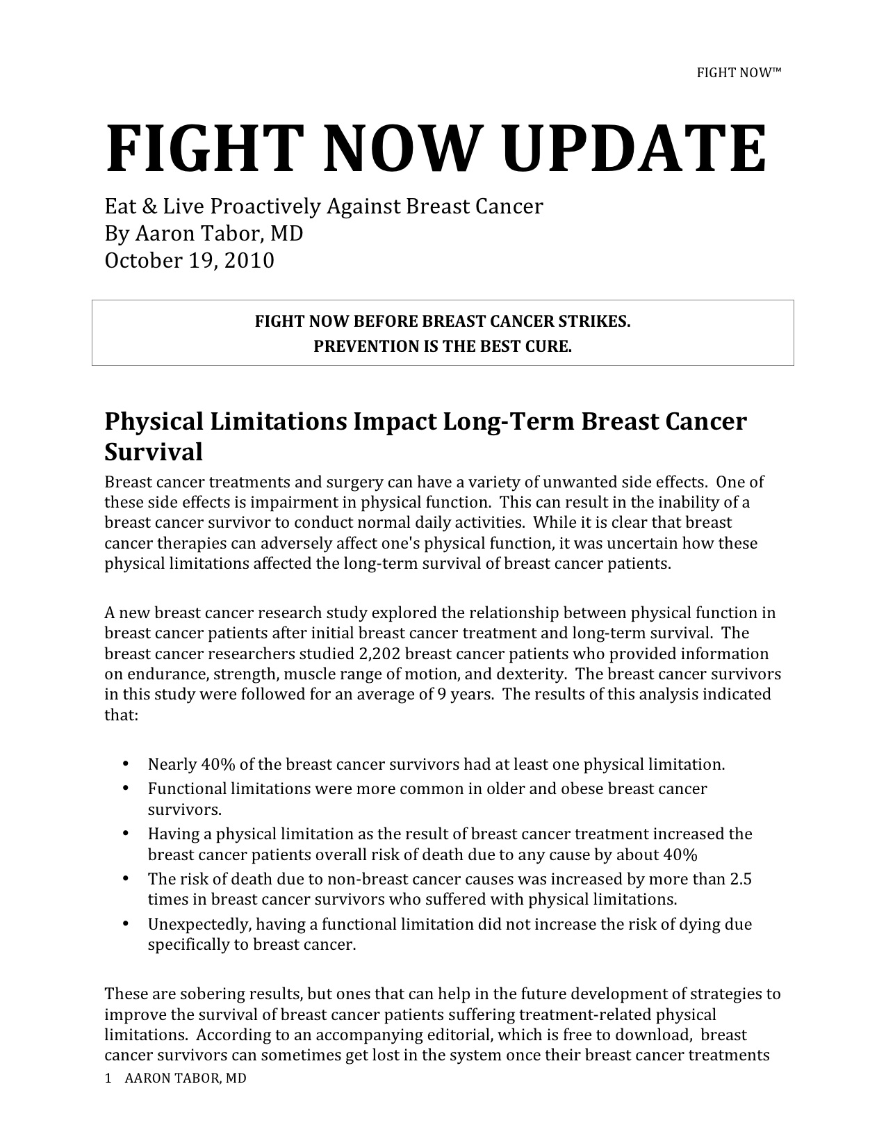 Fight Now Breast Cancer Newsletter - Oct 19th 2010