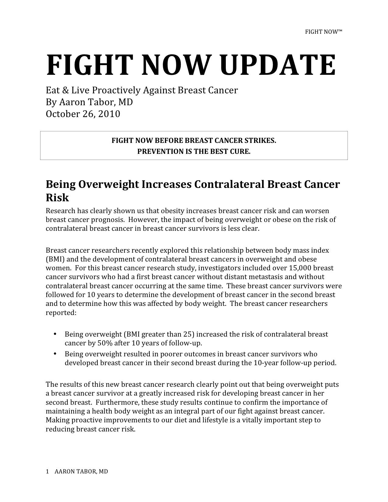 Fight Now Breast Cancer Newsletter - Oct 26th 2010