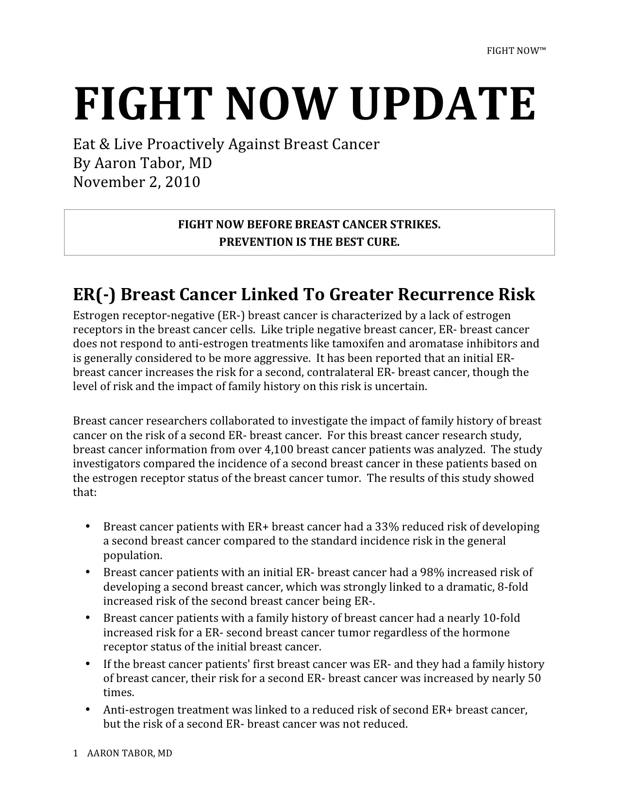 Fight Now Breast Cancer Newsletter - November 2nd, 2010